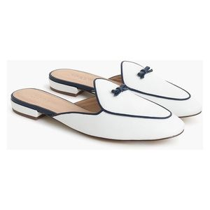 J. Crew White Backless Loafer Mule Slide with Bow